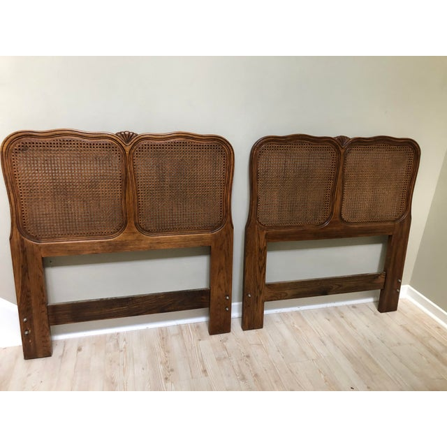 Vintage Cane French Twin Headboards - a Pair   Chairi