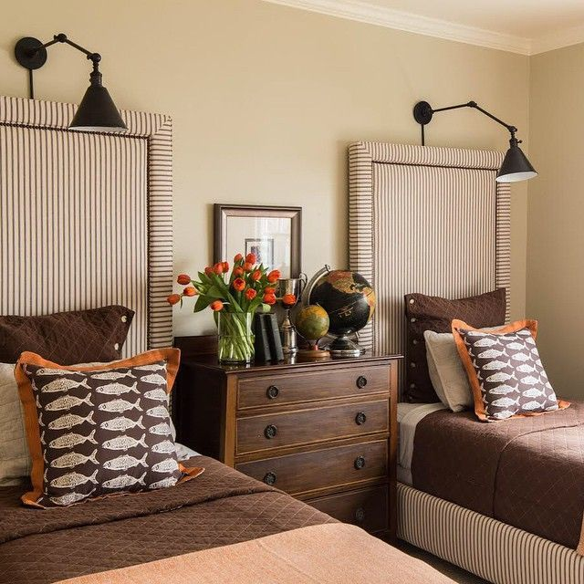 sconces, twin headboards   Twin beds guest ro