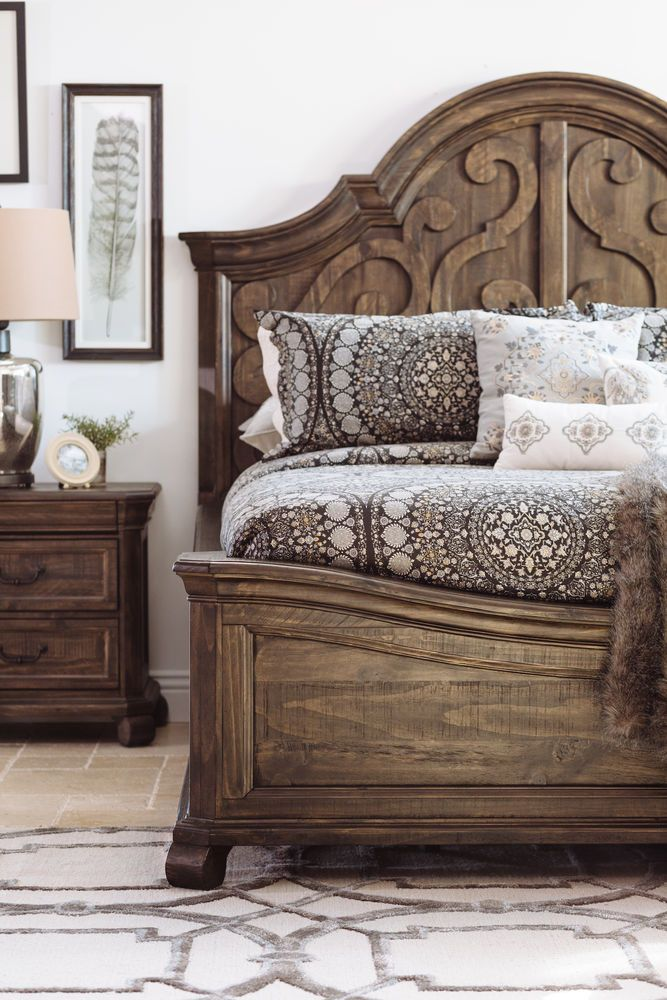 Contemporary Scroll Carved Arch Panel Bed in Peppercorn | Unique .