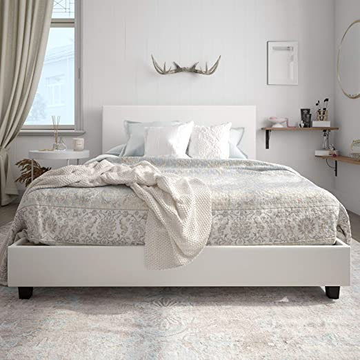 Amazon.com: Carley Upholstered Bed, White Faux Leather, Queen .