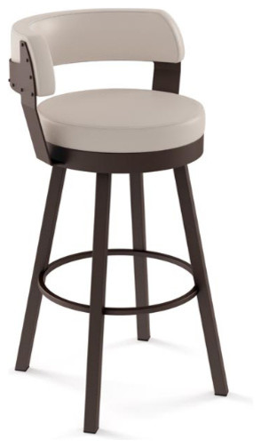 Swivel Stool With Upholstered Seat and Back - Transitional - Bar .
