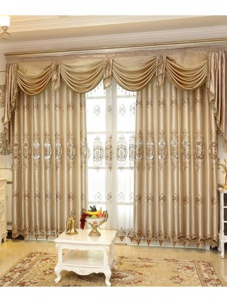 This faux silk valance curtain set includes two panels of curtains .