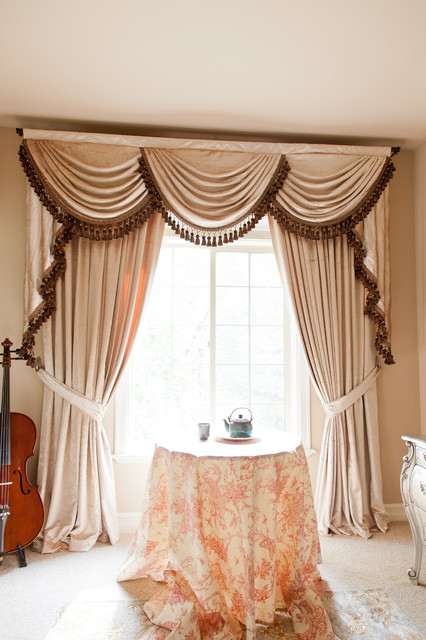 """Pearl Dahlia"""""""" Elegant Designer Valance Curtains with Swags and ."""