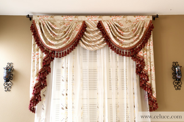 Valance curtains with swags and tails by celuce.com - Traditional .