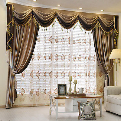Brown Plain Chenille Waterfall and Swag living room Valance .