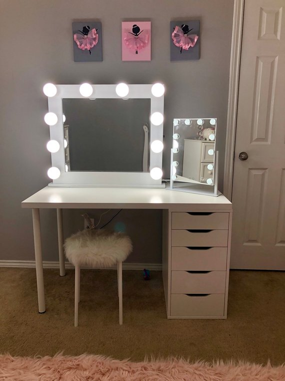 Small 10 Bulb Vanity Mirror with Hollywood Lighting. PERFECT FOR .