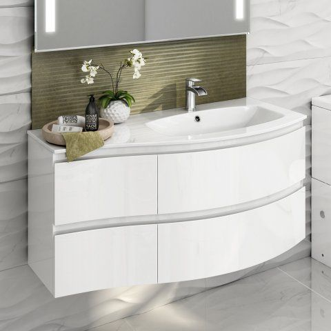 1040mm Amelie High Gloss White Curved Vanity Unit - Right Hand .