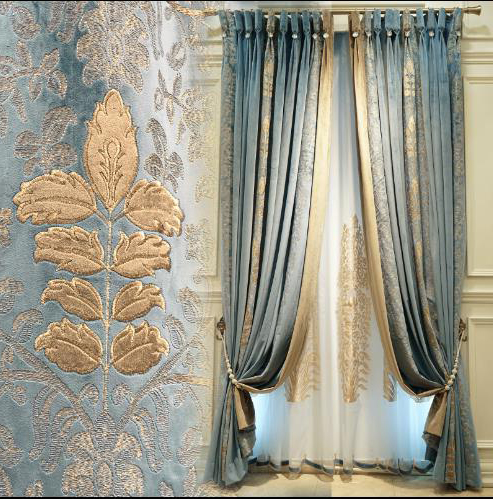 Luxury Blue And Gold Velour Curtains Embroidery Floral Blacko