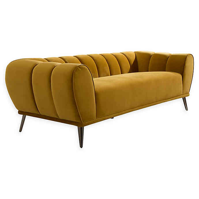 Chic Home Charity Velvet Sofa in Gold | Bed Bath & Beyo