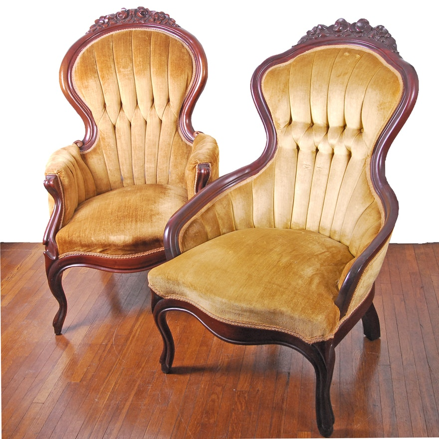 Vintage Victorian Style Upholstered Armchairs by Kimball Furniture .