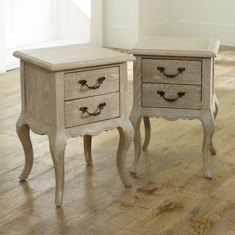 Pair French style bedside tables set shabby chic vintage bedroom .