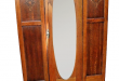 Vintage Wardrobe Closet Tiger Oak hangar Center Door Oval Beveled .