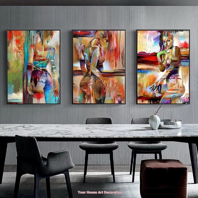 Nordic Canvas Painting Fashion Sex Figure Picture Wall Art Home .