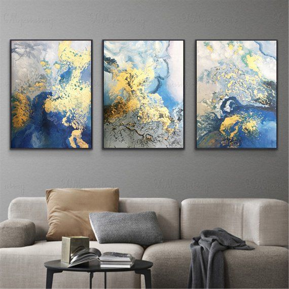 3 pieces gold art abstract painting wall art picture for living .