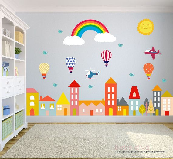 City Wall Decals, Wall Decals Nursery, Baby Wall Decal, Kids Wall .