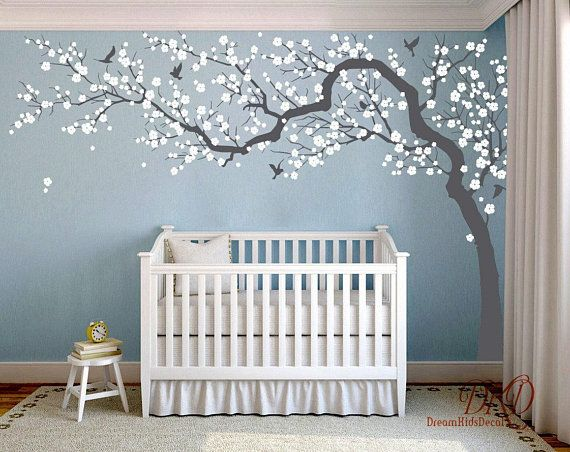 Wall Decal Charming Pink blossom tree, Cherry blossom Tree decal .