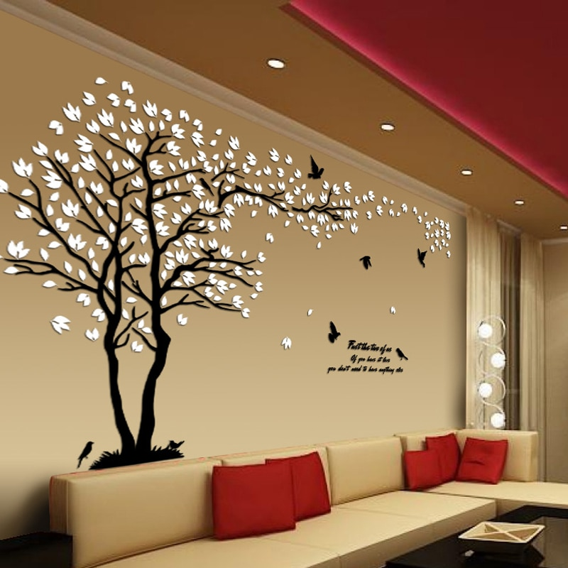 New Arrival Lovers Tree Acrylic Crystal Wall Stickers DIY Art Wall .
