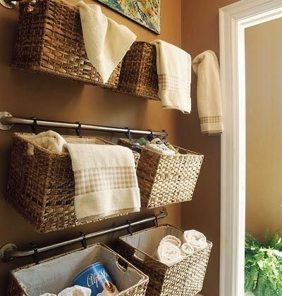 towel rod + clips = hanging baskets for bathroom storage by .