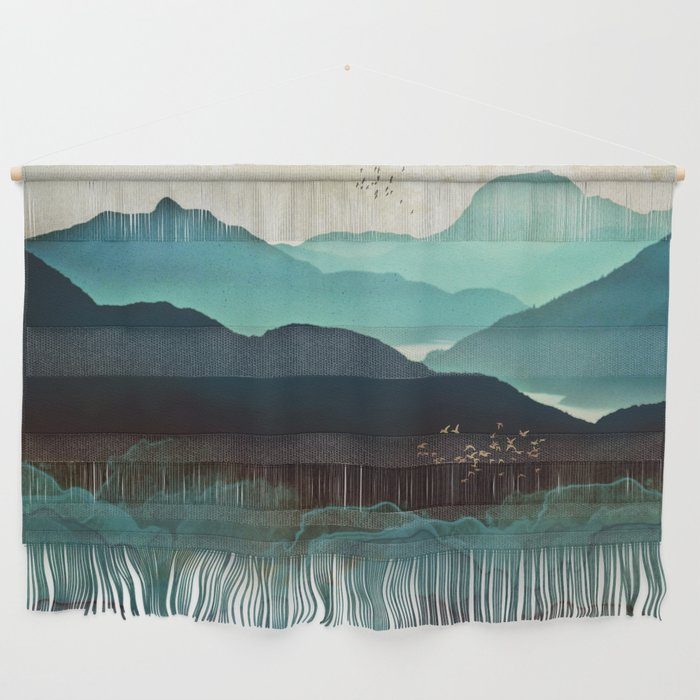 Indigo Mountains Wall Hanging by spacefrogdesigns | Societ