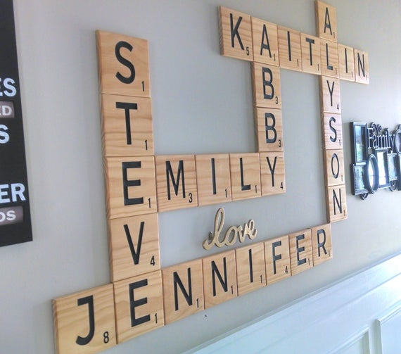 CARVED Scrabble Tiles Wall Art Wall letters scrabble wall | Et