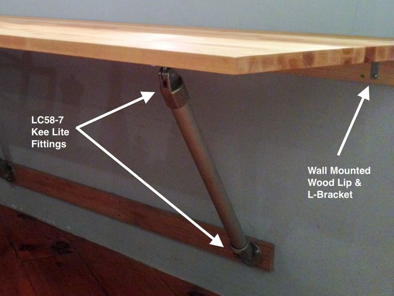 Butcher Block Wall Mounted Table (I like this in the laundry room .