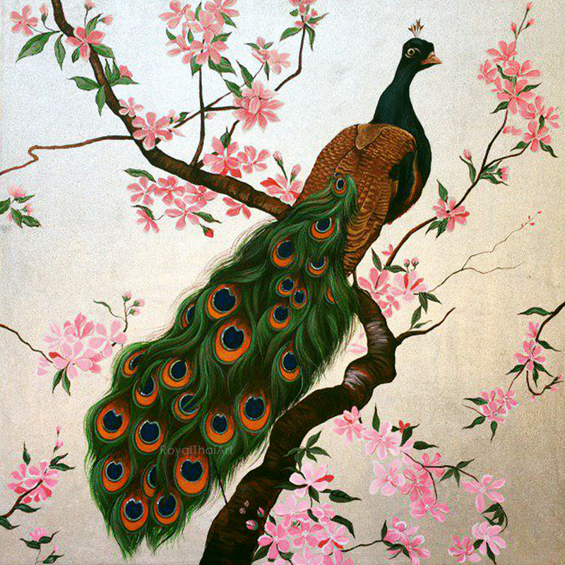 Peacock Wall Painting l Thailand Pattern l Thai Arts and Crafts .