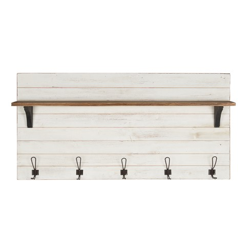 "46.1"" X 26"" Wall Shelf With 5 Hooks White/Brown - Uniek : Targ"