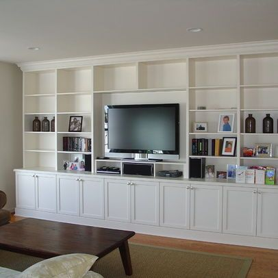 Media wall ideas - I like the lower cabinets | Built in wall units .