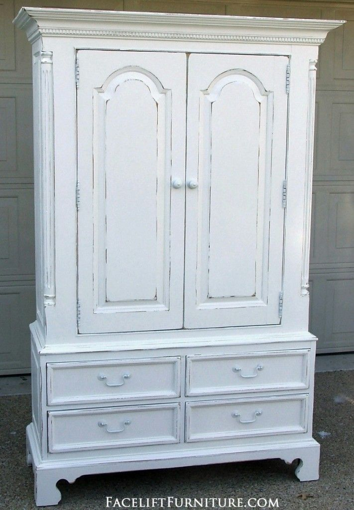 Distressed White Clothing Armoire | Clothing armoire, Shabby chic .