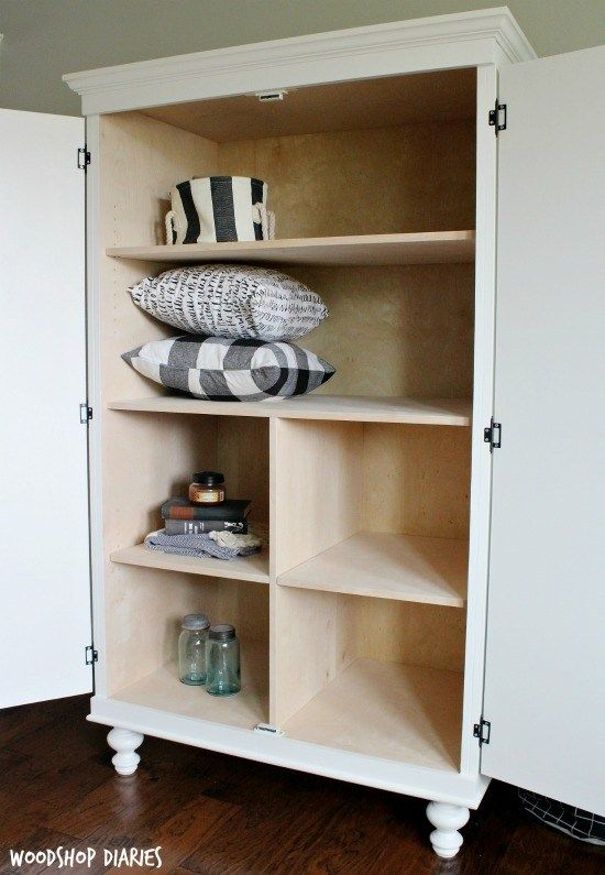 DIY Wardrobe Armoire Storage Cabinet with Shelves | Diy storage .