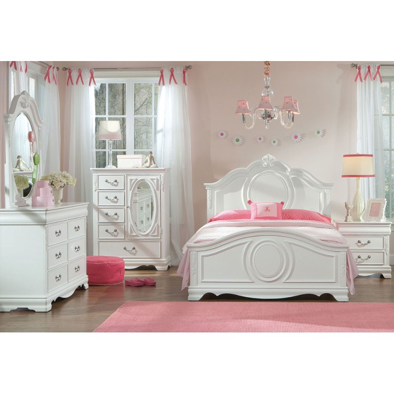 Traditional White 4 Piece Twin Bedroom Set - Jessica   RC Willey .