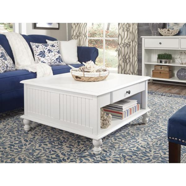 International Concepts Cottage Beach White Square Coffee Table .