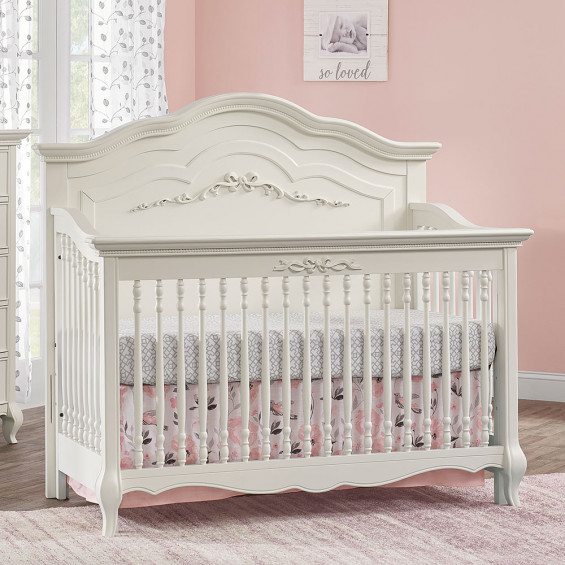 Oxford Baby Bella 4 In 1 Convertible Crib in Pearl Whi