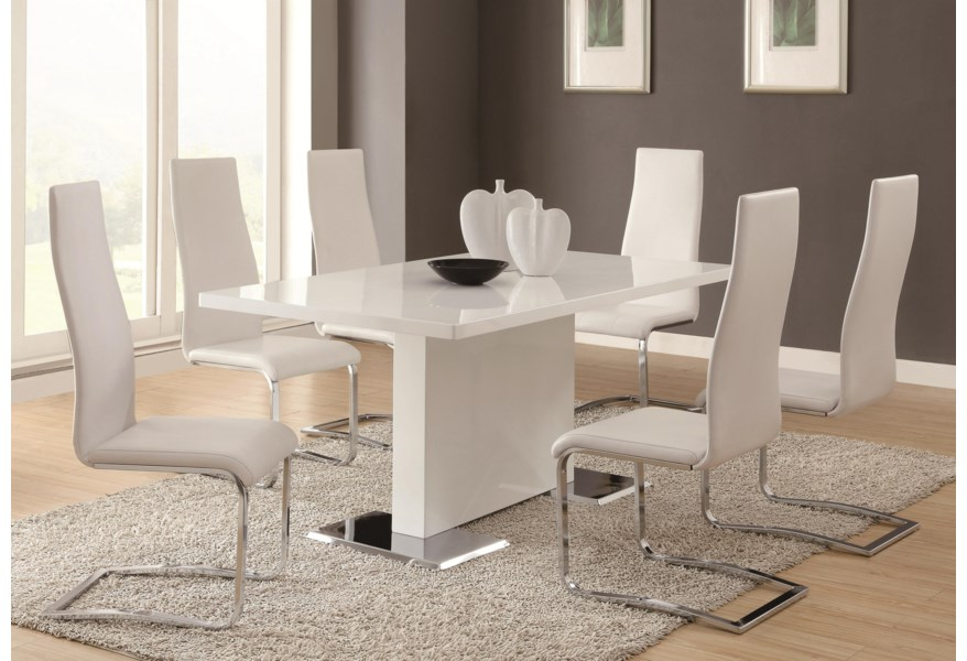 Coaster Modern Dining White Dining Table with Chrome Metal Base .