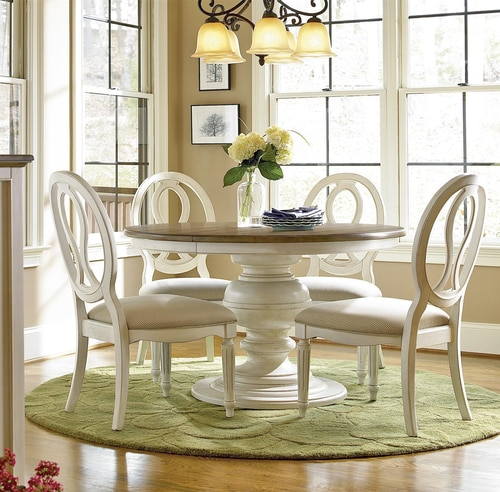 Country-Chic 5 Piece Round White Dining Table Set | Zin Ho