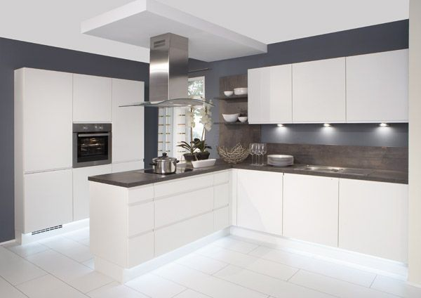 white gloss kitchen with grey worktops - Google Search | White .