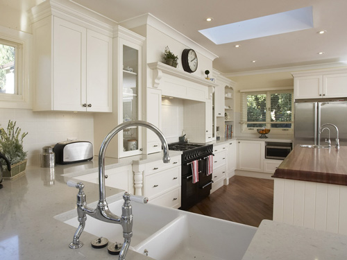 Off White Kitchen Cabinets with White Applianc