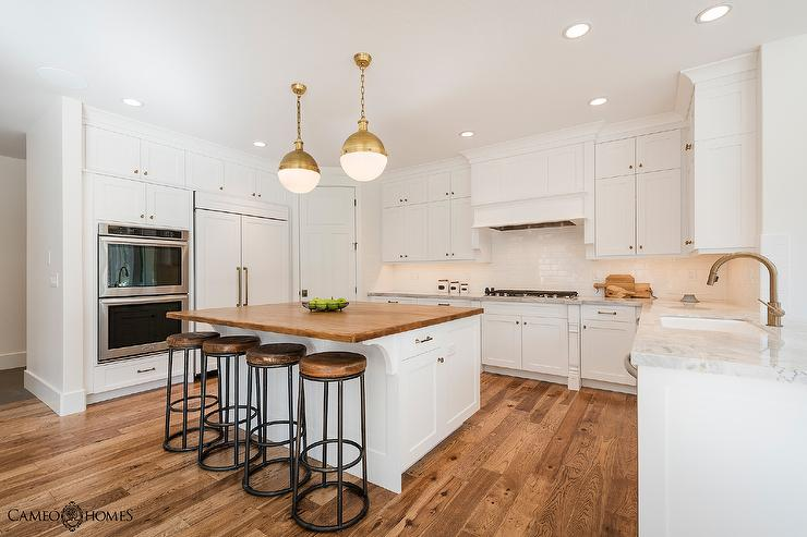 White Kitchen Island with Butcher Block - Transitional - Kitch