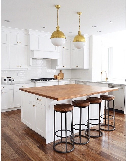 White Kitchen Island with Butcher Block Top - Transitional - Kitch