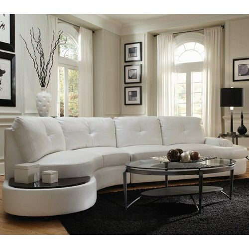 white curved sofa, modern sectional,white leather sofa | Living .