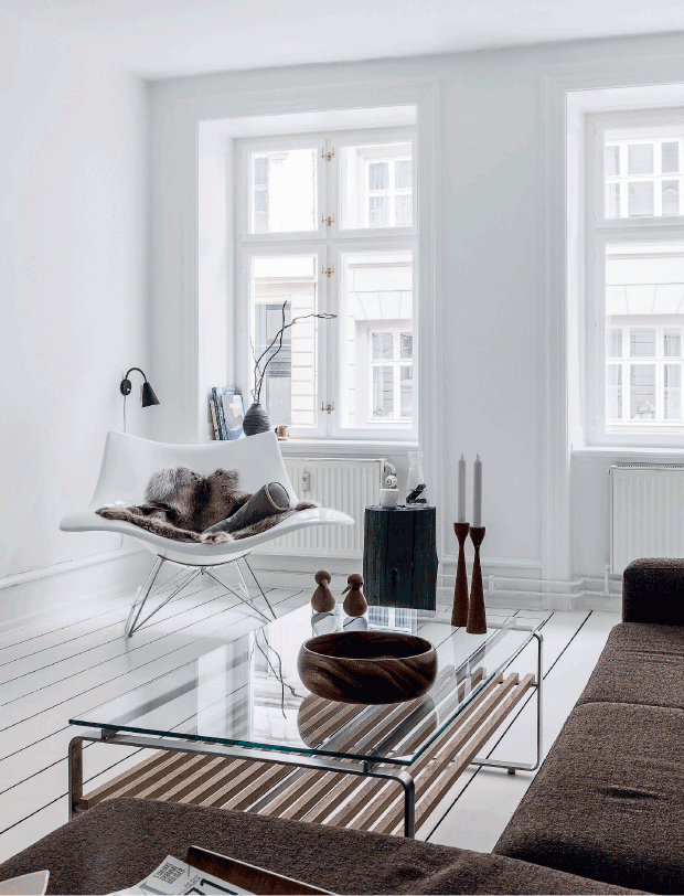 decordots: White and brown in a Nordic living ro