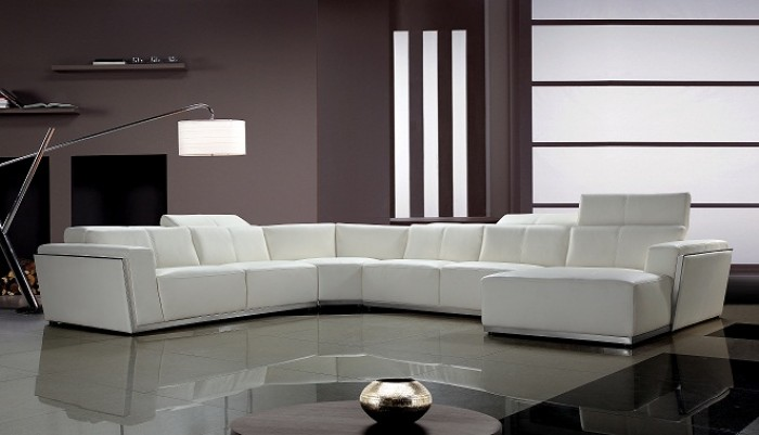 Tempo Contemporary White Leather Sectional So
