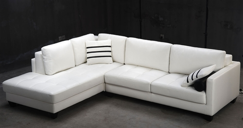 White Leather Sectional Sofa TOS-FY762