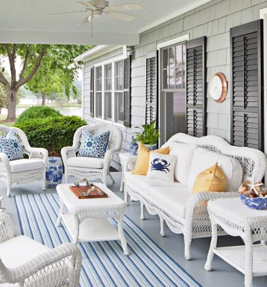 White Outdoor Wicker Seating with Coastal Flair | Shop the Look .