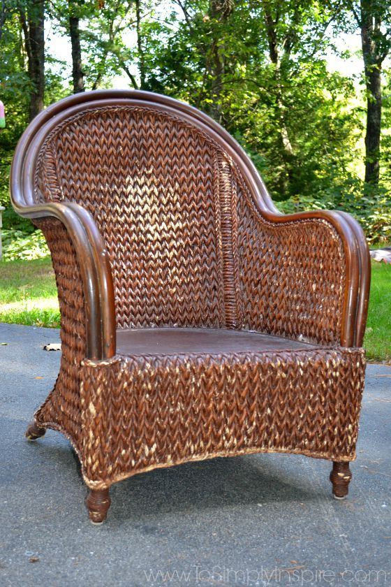 How To Paint Wicker Furniture With a Brush - Chair Makeover .