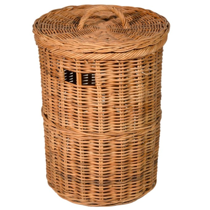 Light Weighted Wickery Laundry Basket Goodworksfurniture, Round .