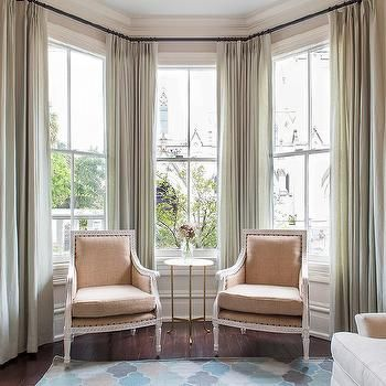 Curtains On Bay Windows - Use long floor to ceiling panels to .