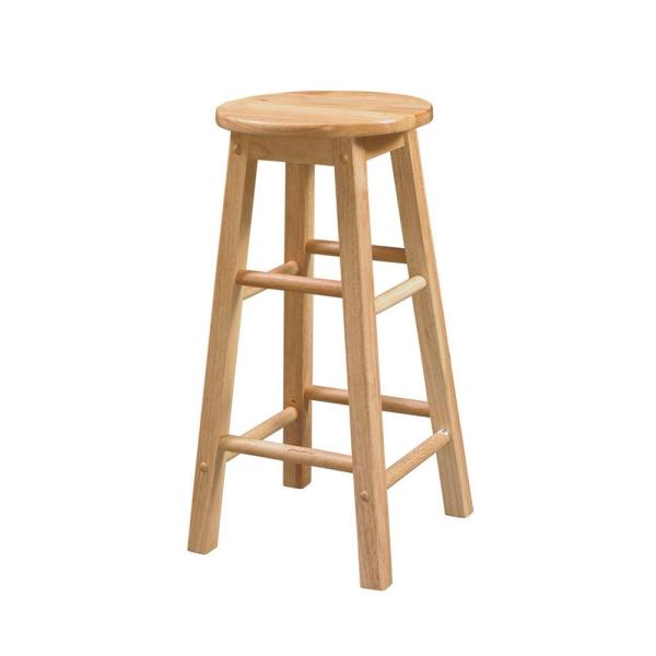 Linon Home Decor 24 in. Round Wood Bar Stool 98100NAT-01-KD - The .