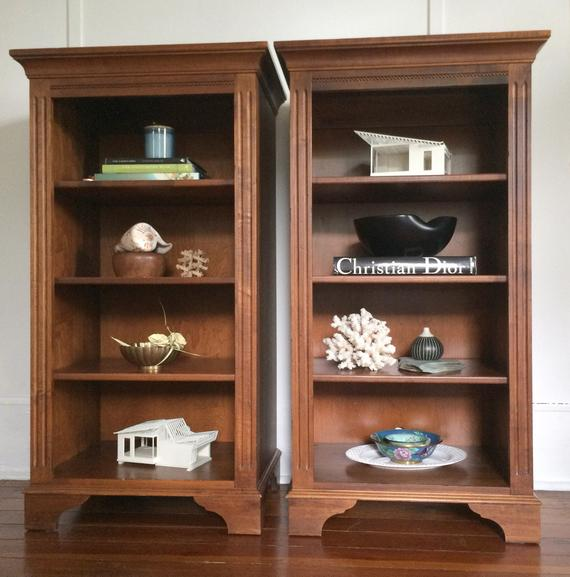 SOLD Ethan Allen Wood Bookcases // a pair of vintage solid   Et