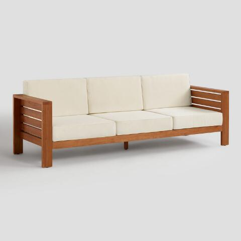 Wood Formentera 3 Seater Outdoor Occasional Sofa   World Mark